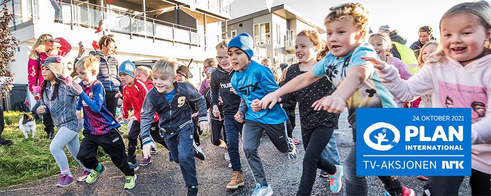 Barn som løper for «Skoleaksjonen» for TV-aksjonen NRK 2021